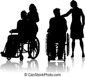 homme, dans, fauteuil roulant, à, femme