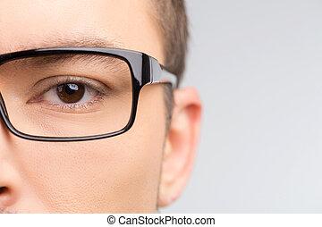 homme, dans, glasses., gros plan, tondu, image, de, homme,...