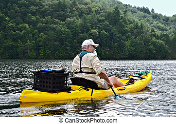 homme, dans, kayak