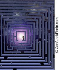 homme dans labyrinthe