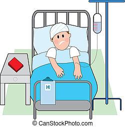 homme, dans, lit hôpital