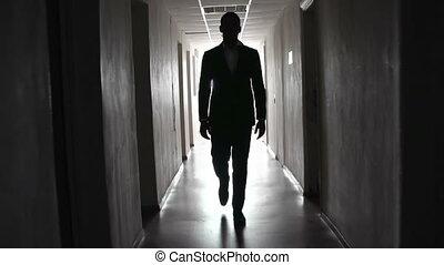 homme, dans, noir