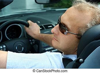 homme, dans voiture