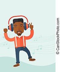 homme, danse, jeune, quoique, écoute, music., heureux