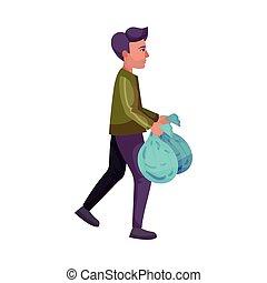 homme, dehors, ménage, jeune, prendre, illustration, activité, vecteur, déchets ménagers