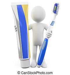 homme, dentifrice, brosse dents