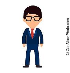 homme, dessin animé, business