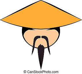 homme, dessin animé, chinois, icône