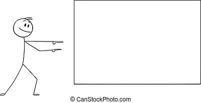 homme, dessin animé, homme affaires, pointage, vecteur, vide, illustration, enthousiaste, présentation, signe, projection, ou