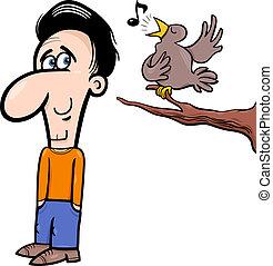 homme, dessin animé, illustration, oiseau