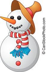 homme, dessin animé, neige