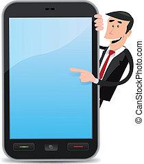 homme, dessin animé, pointage, smartphone