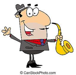 homme, dessin animé, saxophoniste, caucasien