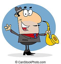 homme, dessin animé, saxophoniste