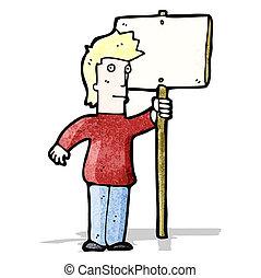 homme, dessin animé, signe