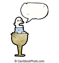homme, dessin animé, tasse