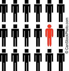 homme, différent, une, autre, gens