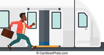 homme, disparu, train.