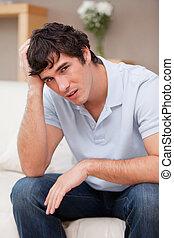 homme, divan, désespéré, séance