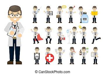 homme, docteur, set.