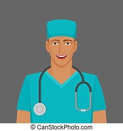 homme, docteur, stéthoscope, medic
