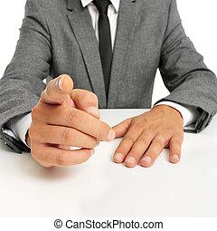 homme, doigt indique, complet