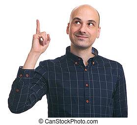 homme, doigt indique, haut