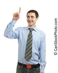 homme, doigt indique, jeune