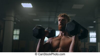 homme, dumbbells, épaule, sur, muscles, portrait, formation, endurance, sien, tête, bras, pousser, gym.