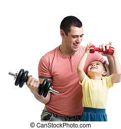 homme, dump-bells, exercice, fils