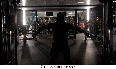 homme, dur, gymnase, formation, silhouette