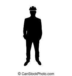 homme, dur, ingénieur, hat., icône
