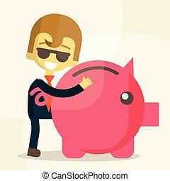 homme, epargner argent, business
