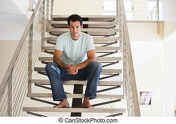homme, escalier, séance