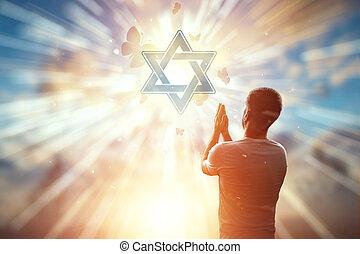 homme, espoir, prière, religion, david., judaïsme, symbole, étoile, toile de fond, contre, freedom., espoir, foi, concept