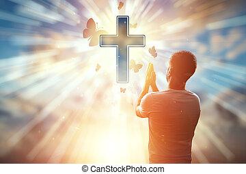 homme, espoir, prière, religion, fond, cross., symbole, catholique, chrétien, chrétien, freedom., espoir, foi, concept