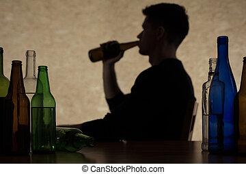 homme, est, boire, alcool