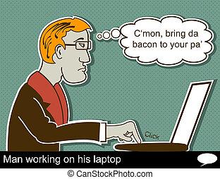 homme, est, travailler, ordinateur portable