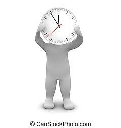 homme, et, clock., 3d, rendu, illustration.