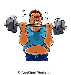homme, excès poids, graisse, haltère