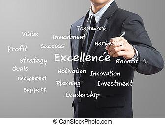 homme, excellence, business, écriture