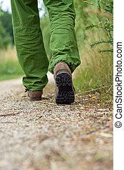homme, exercice, marche, dans parc