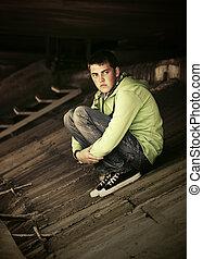 homme, extérieur, jeune, dépression, triste