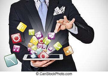 homme, extracts, affaires numériques, icônes