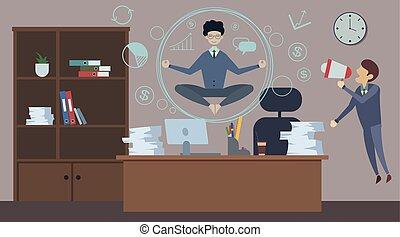 homme, fâché, loudspeaker., stressant, employé, yoga, emotion., cris, patron, calme, bas, mauvais, bureau