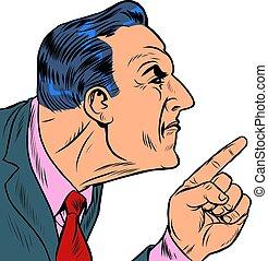 homme, fâché, points, doigt