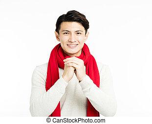 homme, félicitation, jeune, geste, asiatique