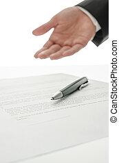 homme, faire gestes, contrat, affaires signent