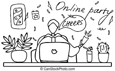 homme, famille, griffonnage, event., online., date, amis, internet., parler ligne, fête, vecteur, illustration