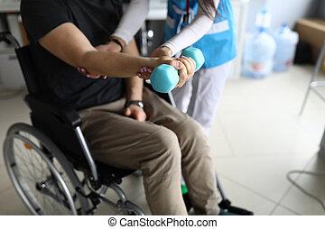 homme, fauteuil roulant, arm., tendu, asseoir, paralysé, ...